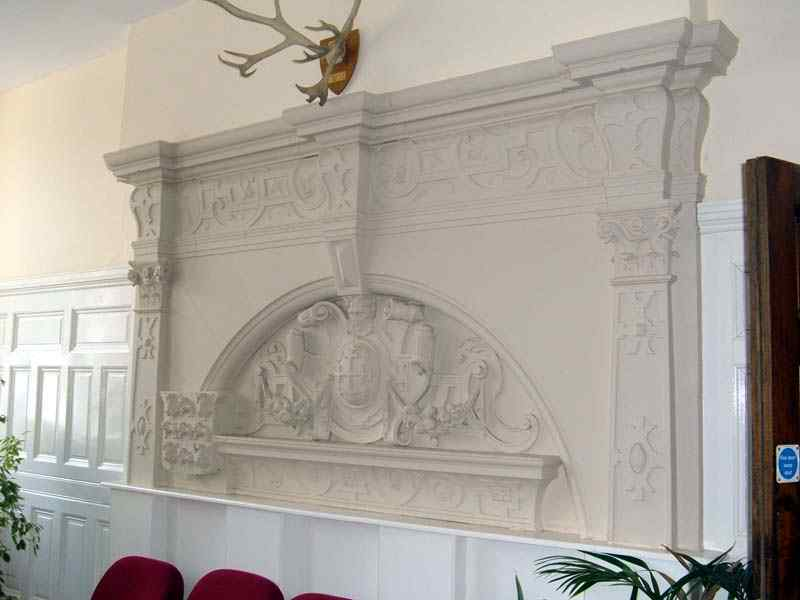 A stylish fireplace in the building