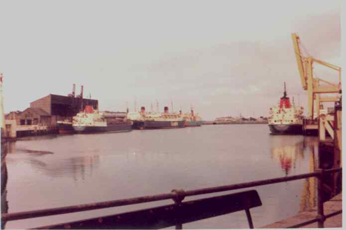 Holyhead inner harbour with several Sealink Vessels