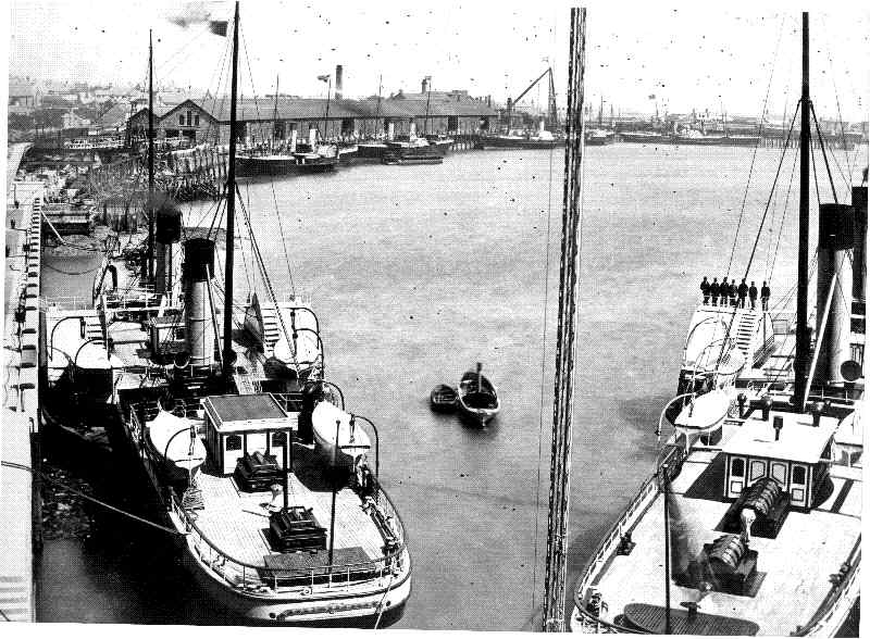 Holyhead inner harbour in 1880 - just after it was opened