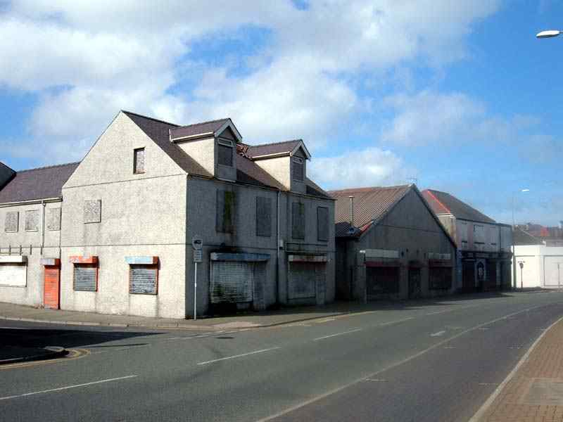 The row of run down buildings in Kingsland Holyhead