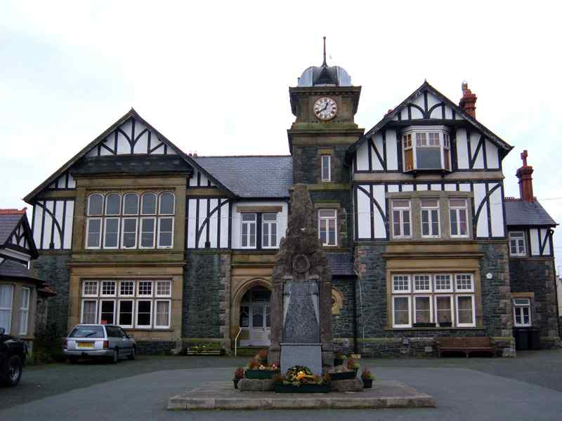 J. Pritchard Jones Hall with Newborough war memorial in front