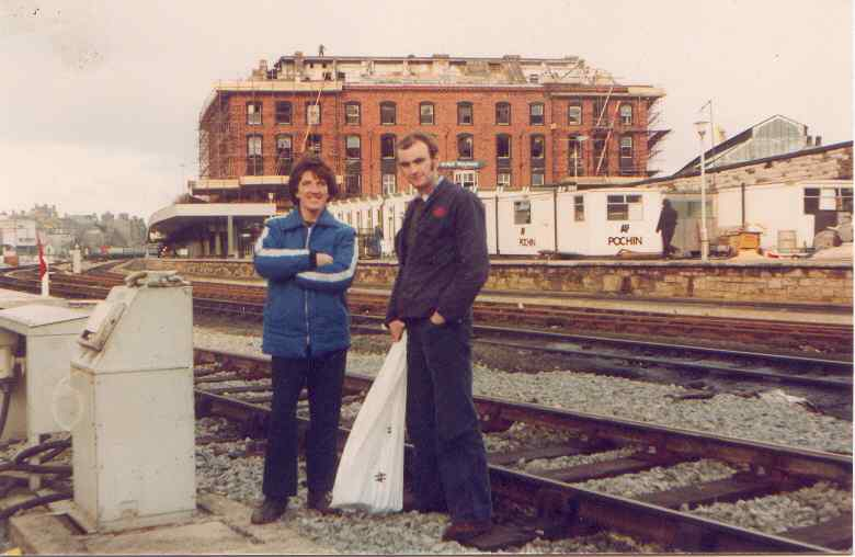 The now demolished Holyhead Station Hotel - with BR workers - Maurice (now sadly passed on) and Gerry Maguire