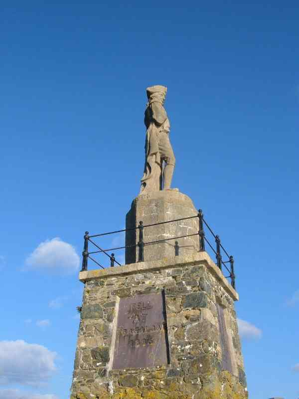 Statue of Lord Nelson on the banks of the Menai Straits