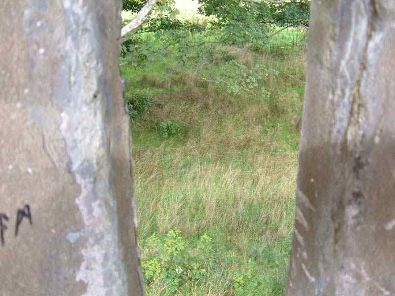 Castell Aberlleiniog - showing a view down to the moat from an archery position