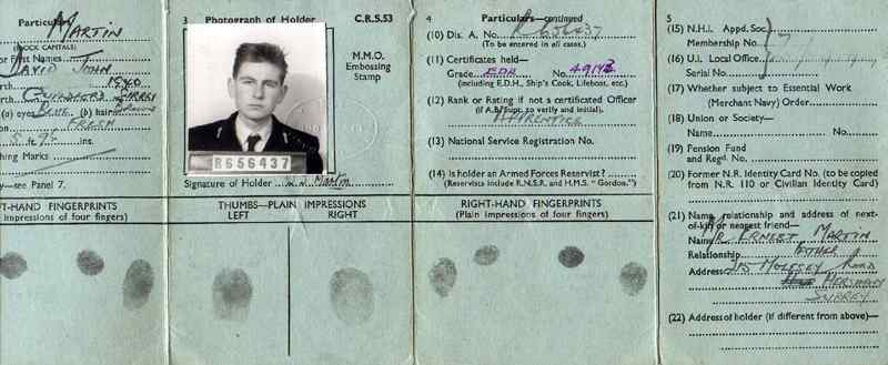 David Martin's British Seamans ID CardJune 1956