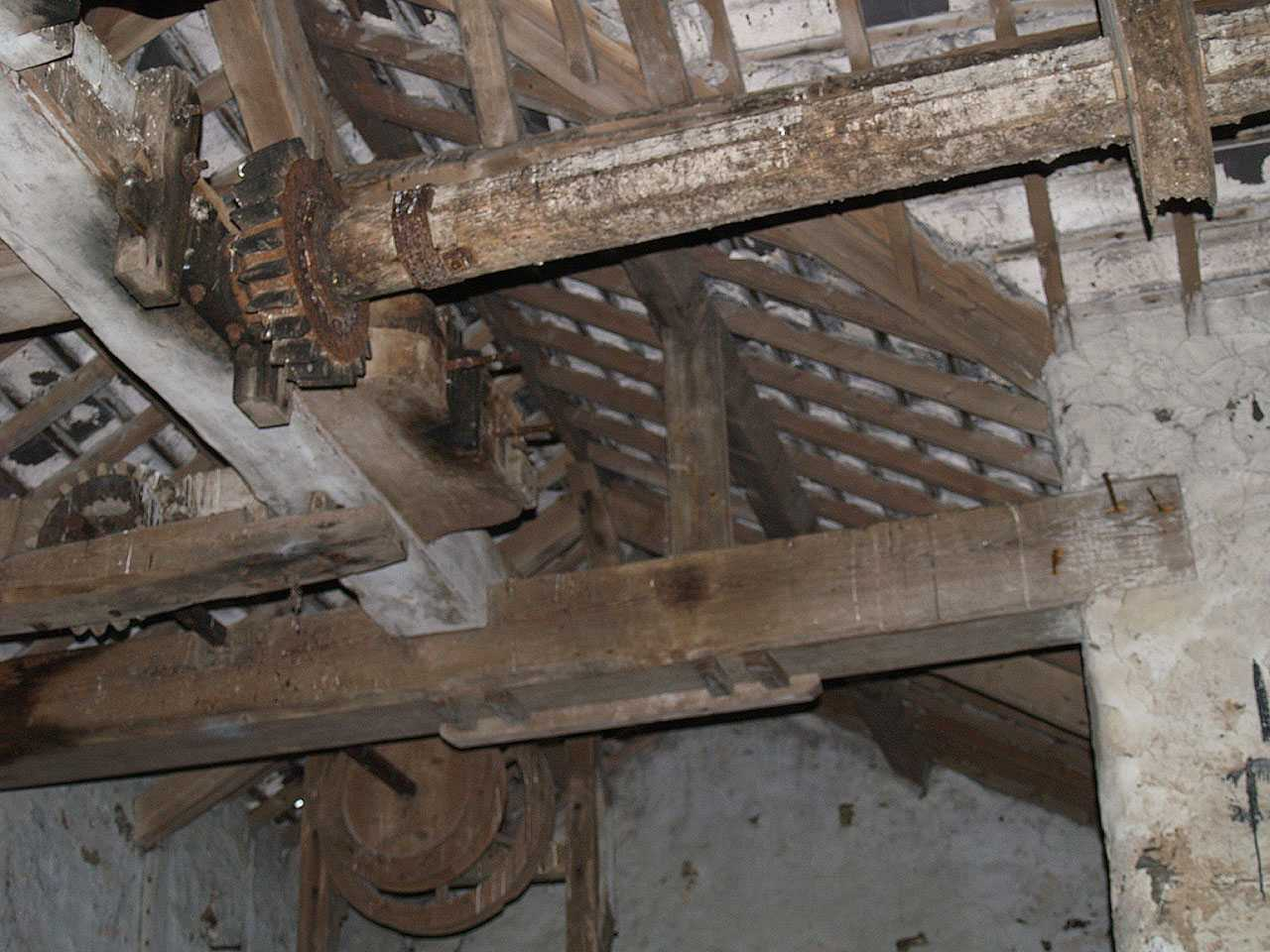 Aberffraw, Melin Y Traeth Water Mill. Internal Workings - shafts and cogs