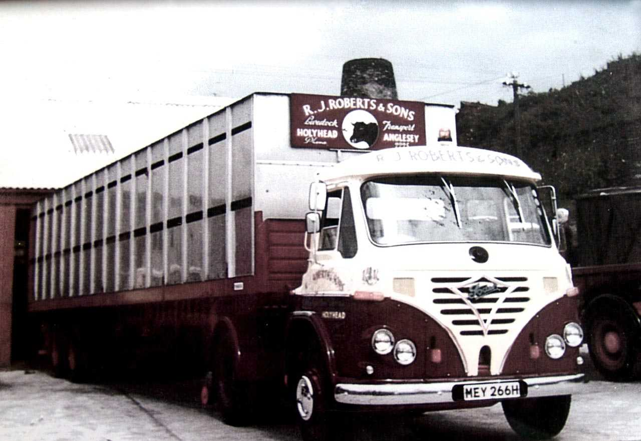 Anglesey, Holyhead, R.J. Roberts & Sons Haulage, 1970 Reg Foden with a livestock trailer - Melin Tan Refail Windmill in the background