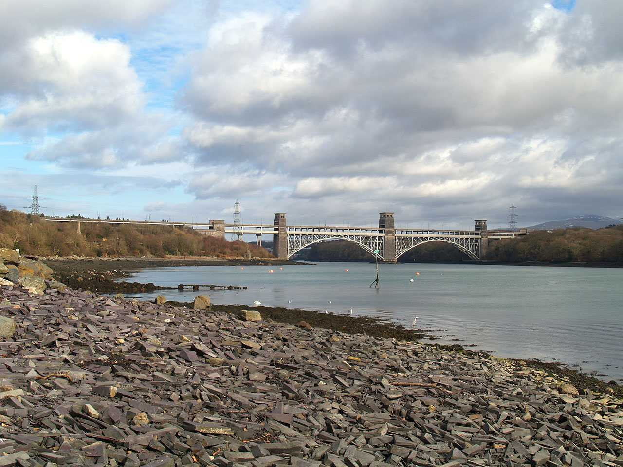 Llanfair Pwllgwyngyll, Pwll Fanogl, view towards Menai Tubular Bridge showing the waste slate