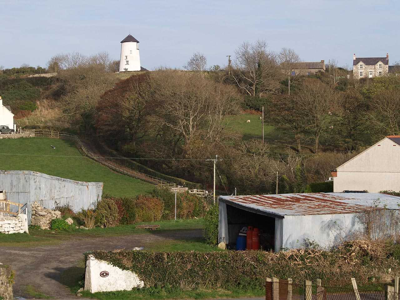 Llangoed, Melin Tros-y-Marian Windmill in a rural surrounding
