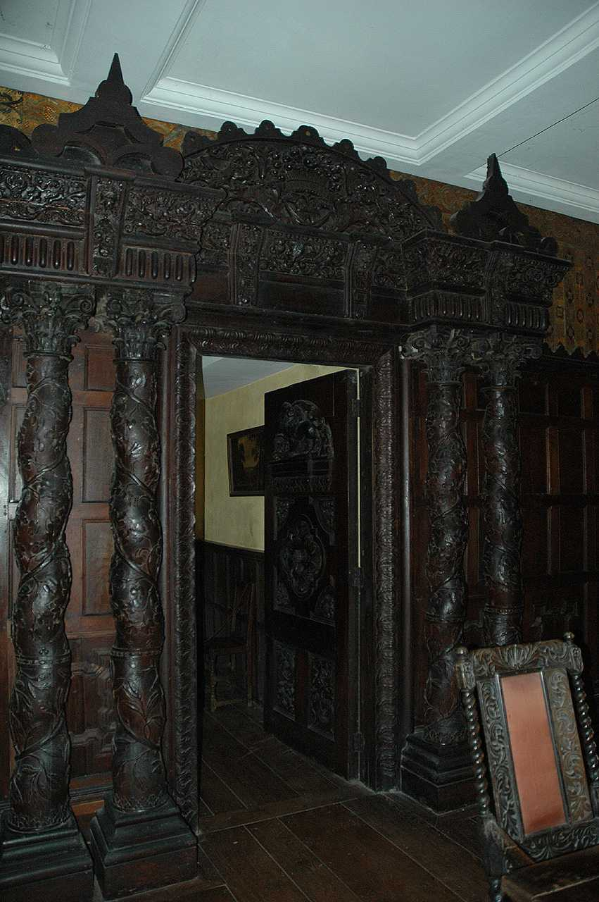 Llanrwst, Gwydir Castle, Dining Room, Carved Oak Doorway and Door