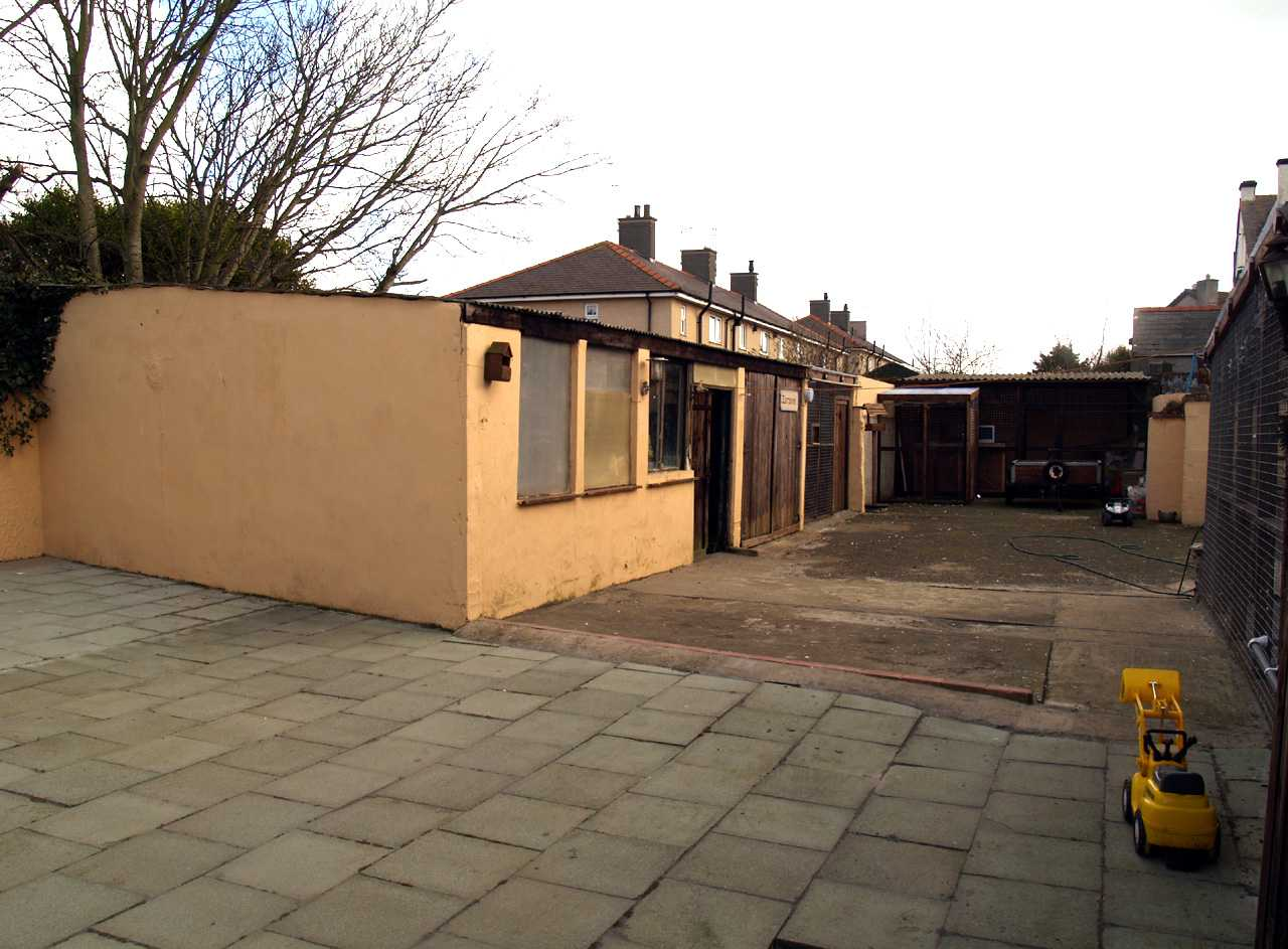 Yard and workshops at back of house with multiple uses in house for sale in Holyhead