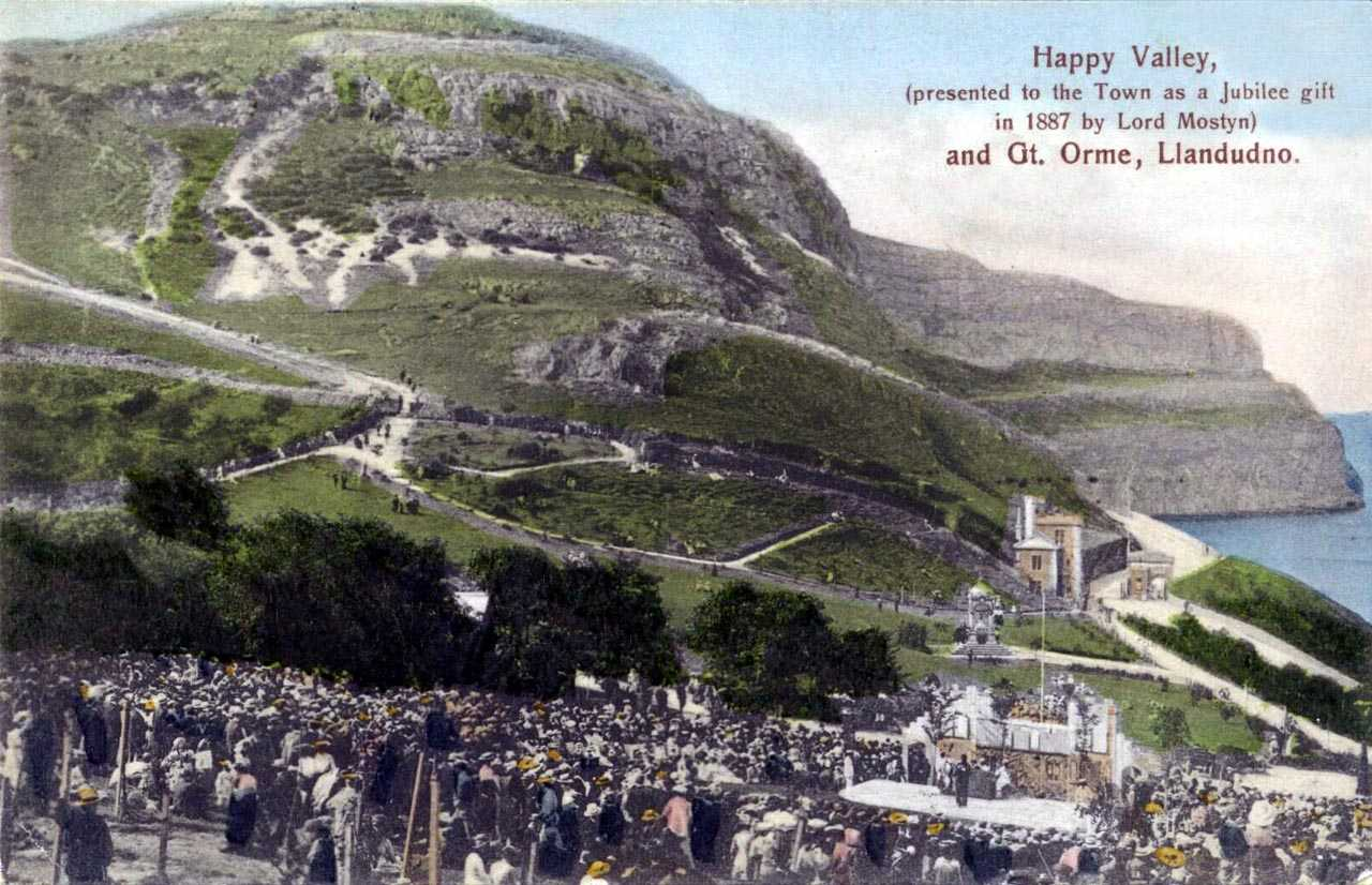 llandudno, happy valley, presented to the town in 1887 by lord mostyn