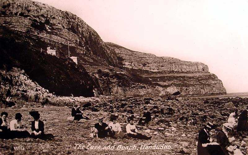 llandudno, the cave and beach in 1910