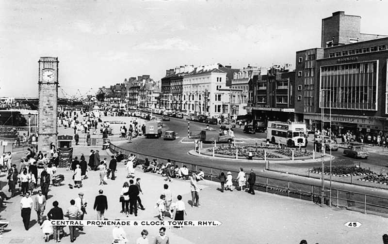 Rhyl, Central Promenade and Clock 1960s