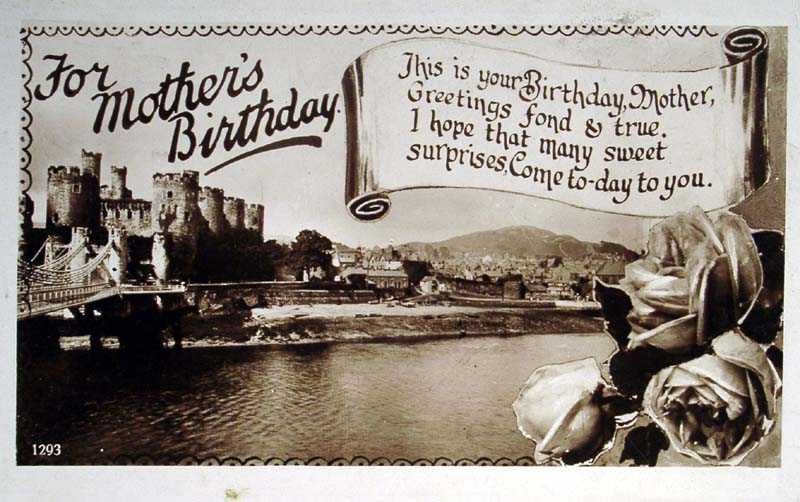 Conway Mother's Birthday Card in 1929