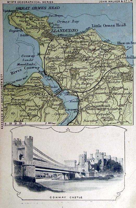 Conwy Castle and Map dated 1905