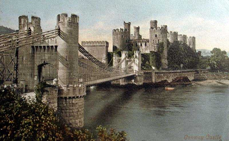 Conwy Castle and Suspension Bridge in 1904