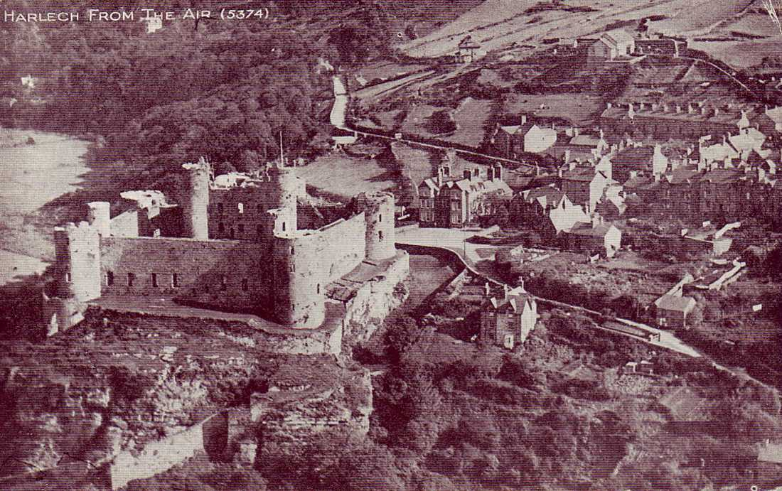harlech castle from the air vintage photo