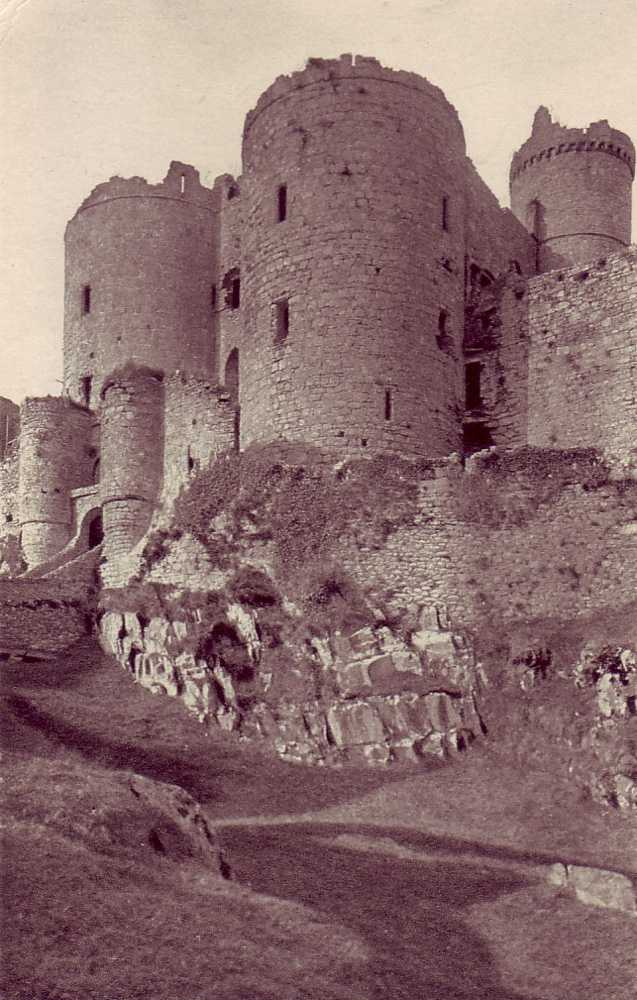 harlech castle, prison tower from the moat in the 1950's