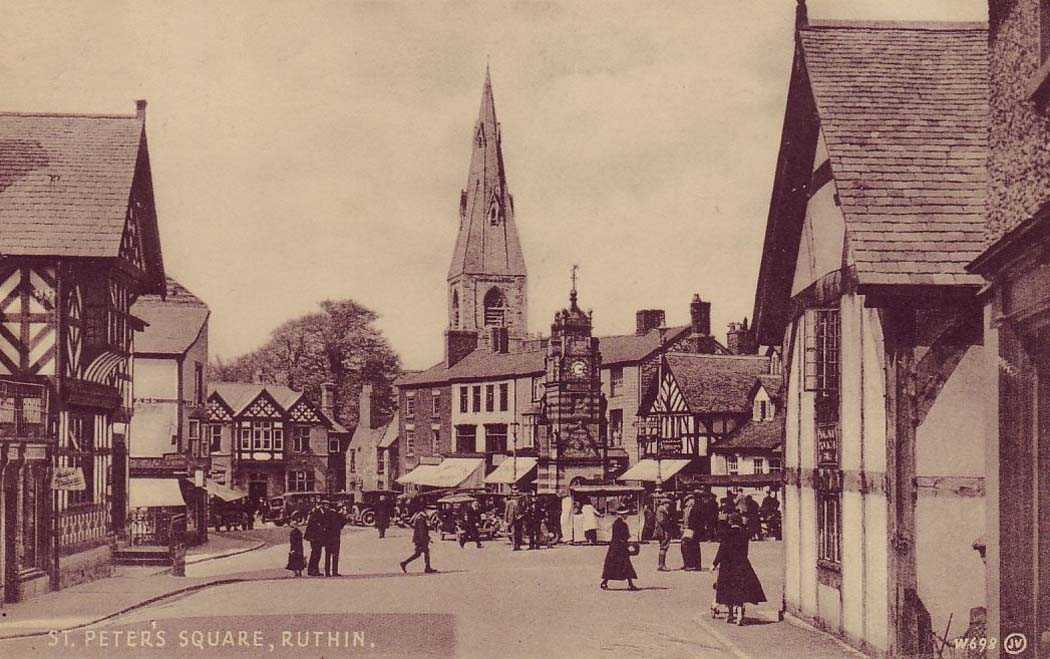 ruthin, st peter's square in the mid 1930's