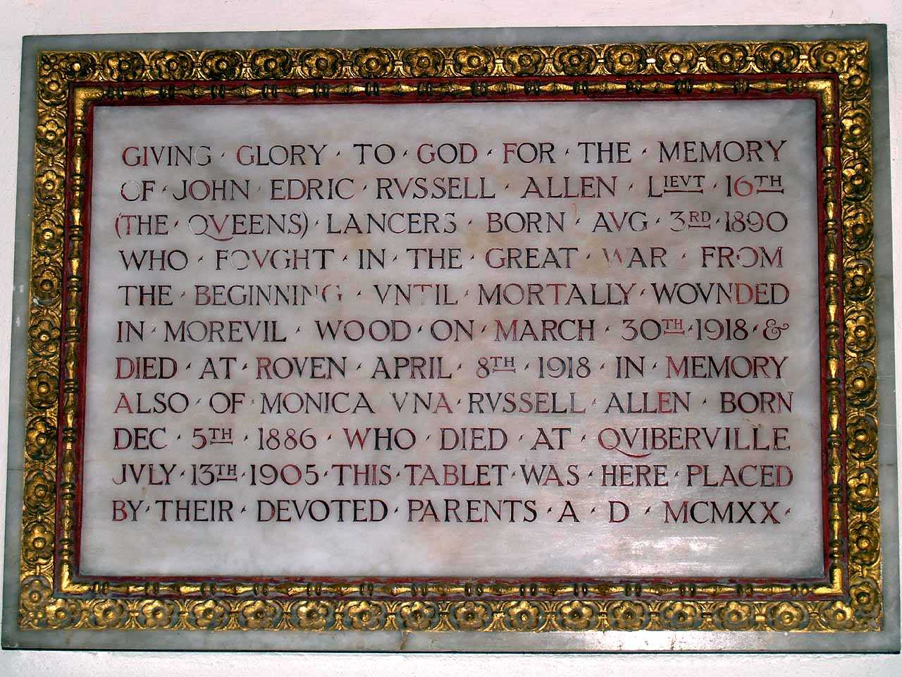 Anglesey, Beaumaris St Mary's Church WWI Memorial to Lieutenant John Edric Russell Allen who died in 1918 aged 27