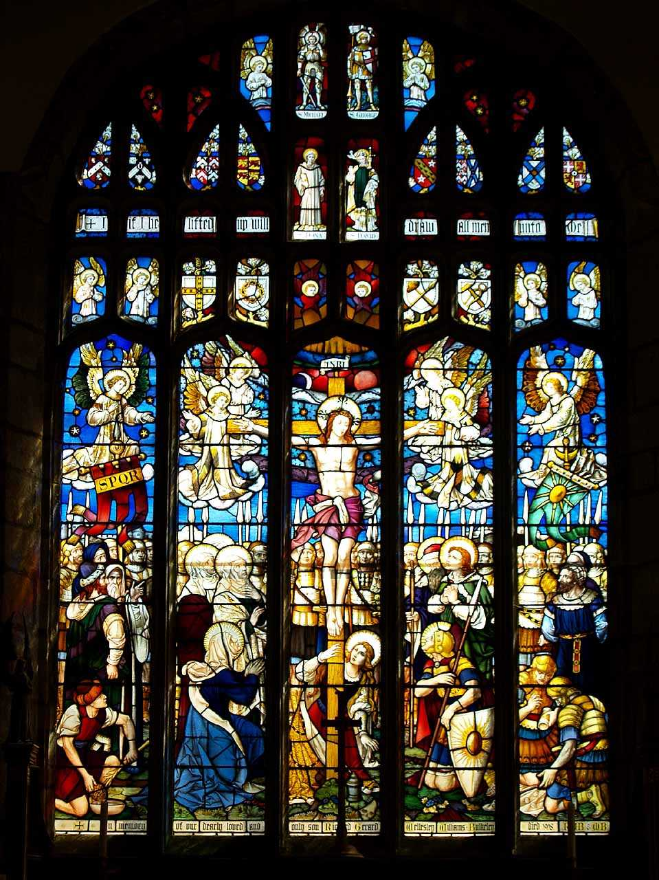 Anglesey, Beaumaris, St Mary's Church, Memorial Window to Major Richard Gerard Wellesley Williams-Bulkeley M.C. died in 1918 aged 30