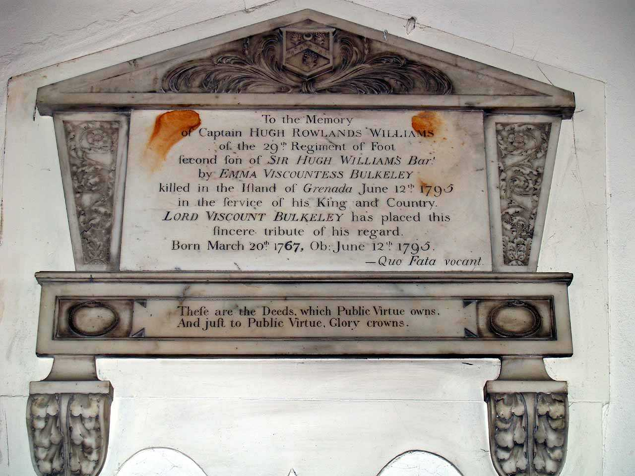 Anglesey, Beaumaris, St Mary's Church, Memorial to Captain Hugh Rowlands Williams 29th Regiment of Foot died Grenada died 1795 aged 28