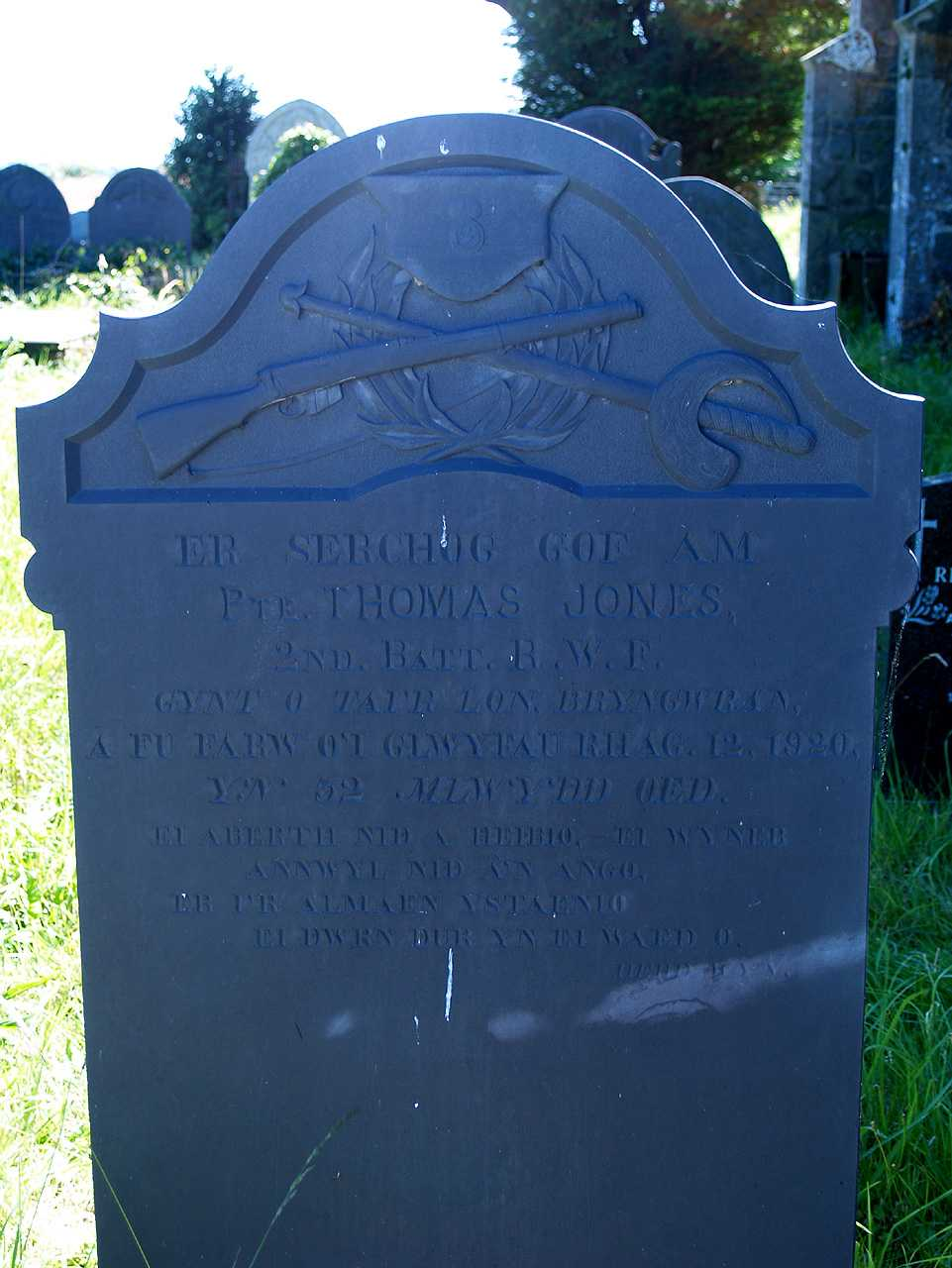 Anglesey, Bryngwran, Holy Trinity Church, WWI Memorial to Private Thomas Jones aged 32