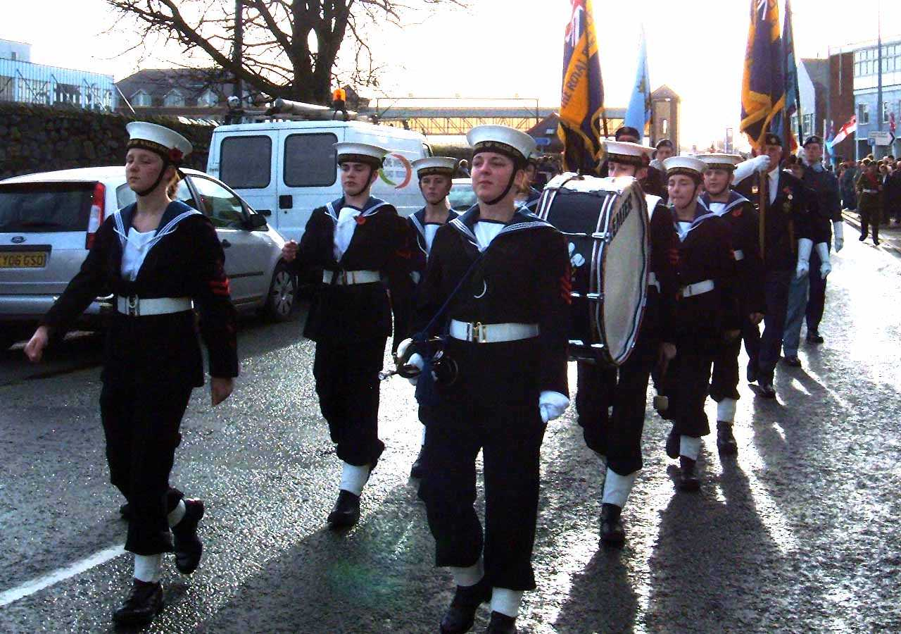 Anglesey, Holyhead, Remembrance Sunday 2006 - Prince of Wales Sea Cadet Corps and Band