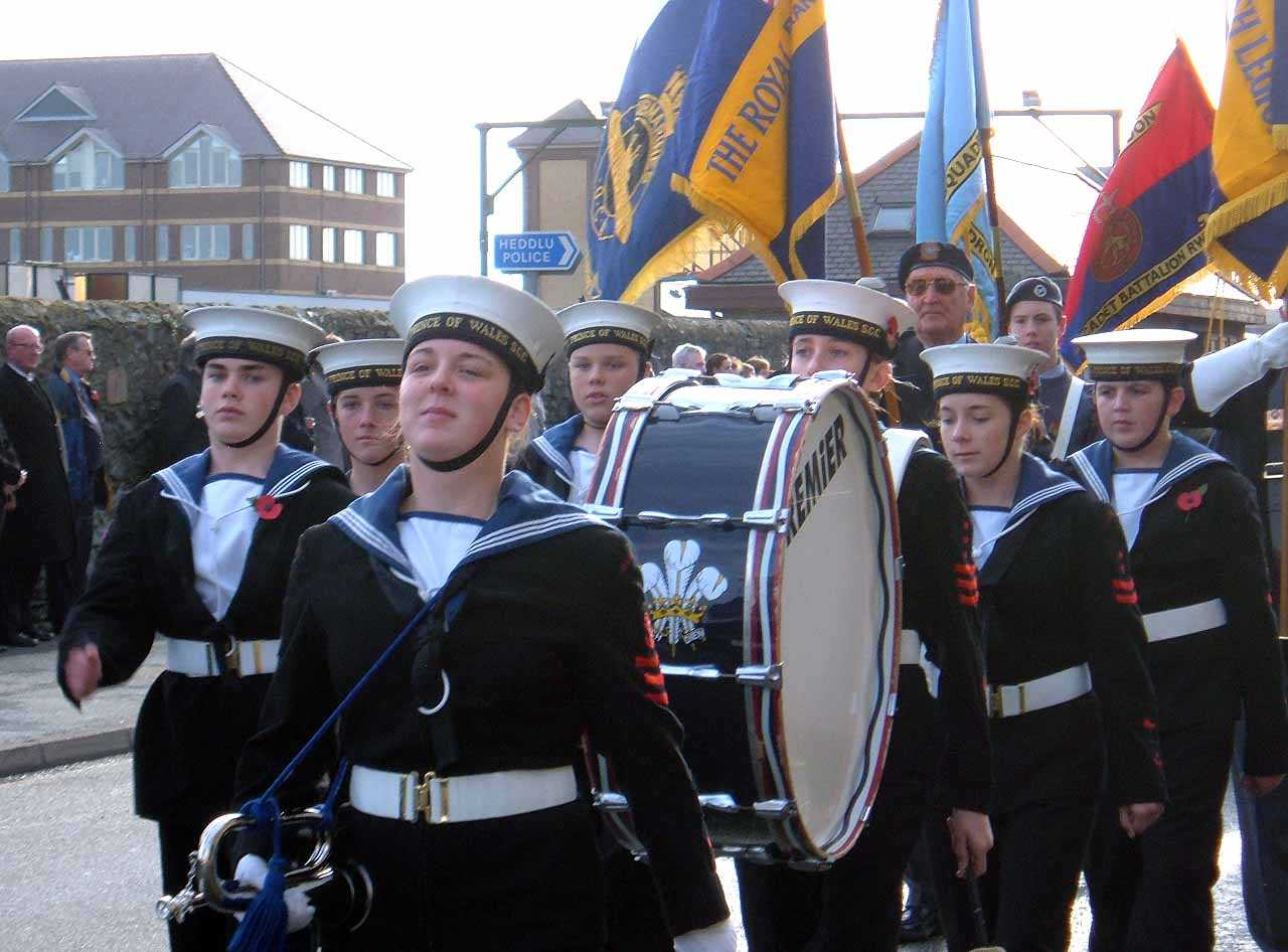 Anglesey, Holyhead, Remembrance Sunday 2006 - Prince of Wales Sea Cadet Corps band lead the parade