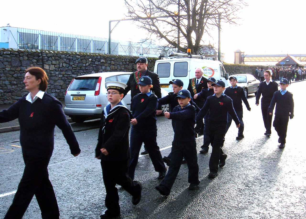 Anglesey, Holyhead, Remembrance Sunday 2006 - Sea Cadet Corps - younger members Marching