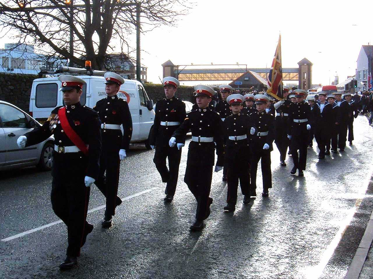 Anglesey, Holyhead, Remembrance Sunday 2006 - Sea Cadet and Marine Corps Marching
