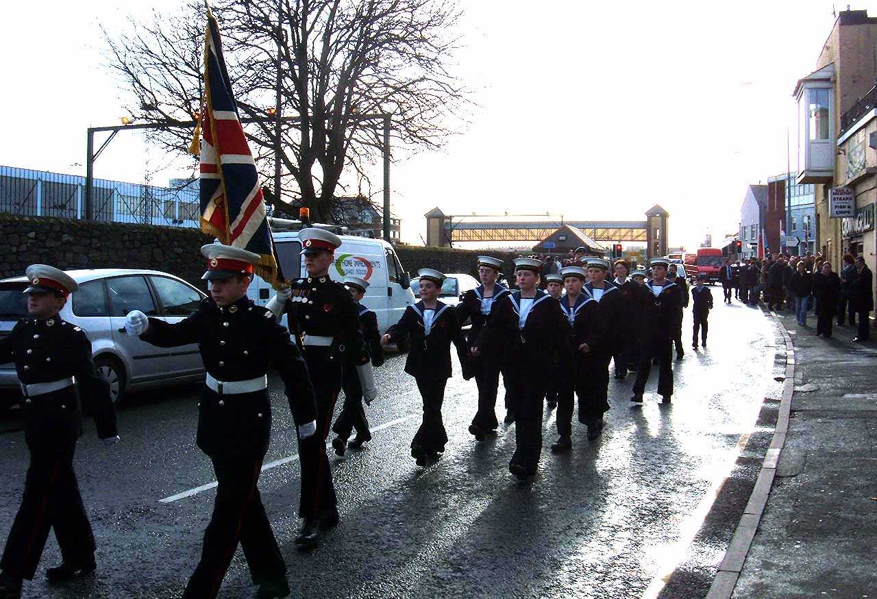 Anglesey, Holyhead, Remembrance Sunday 2006 - Sea Cadet and Marine Corps Parading