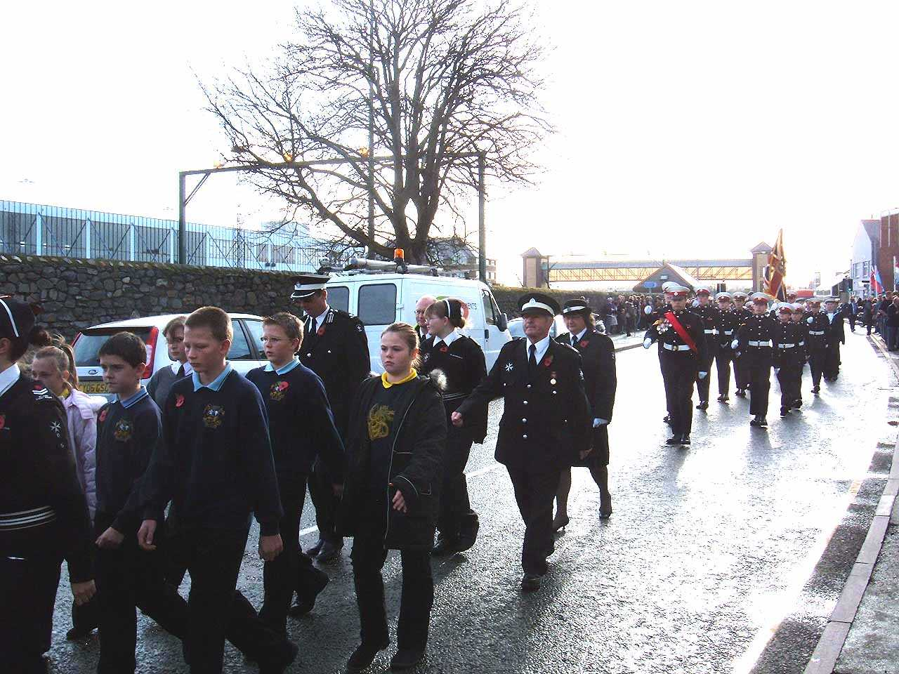 Anglesey, Holyhead, Remembrance Sunday 2006 - St John's Ambulance and Children Marching