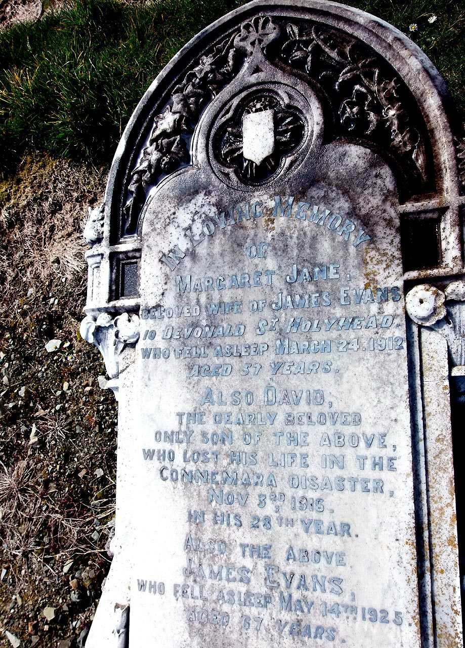David Evans, died 1916 on the SS Connemara buried in Maeshyfryd Cemetery with his parents