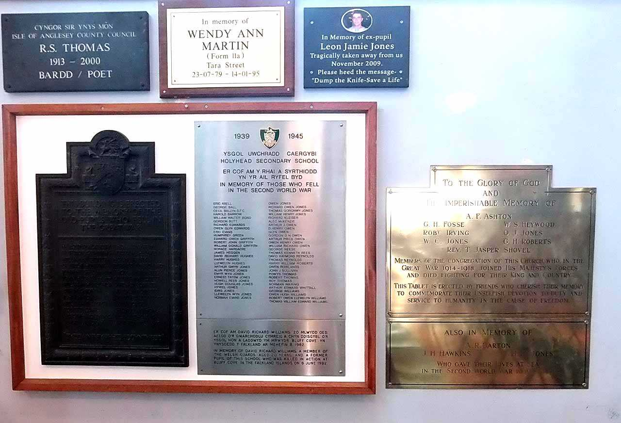 Holyhead Secondary School Memorials