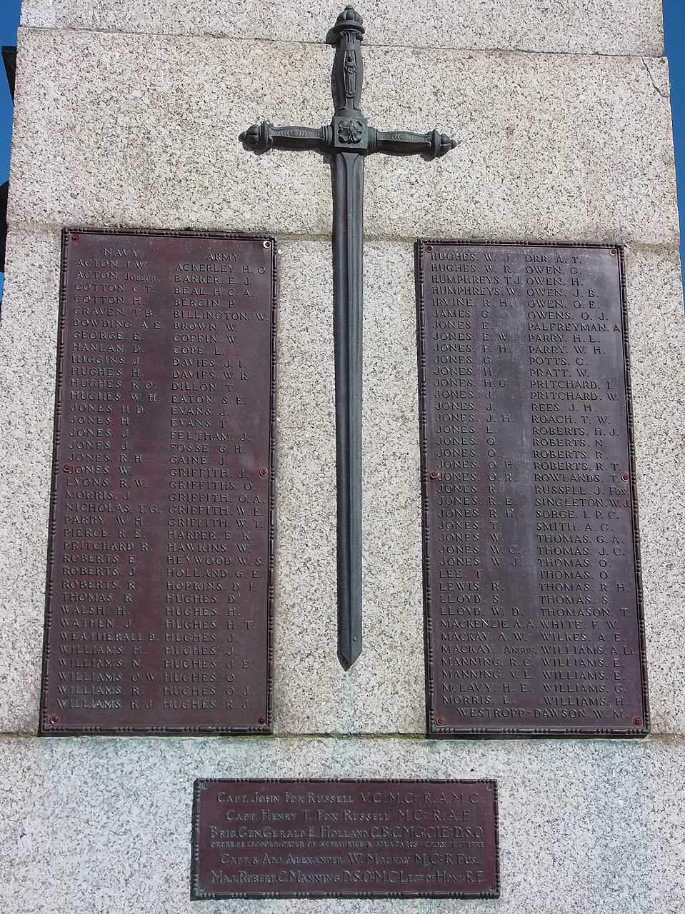 Holyhead War Memorial - WWI Navy, Army and Heroes Casualties Names