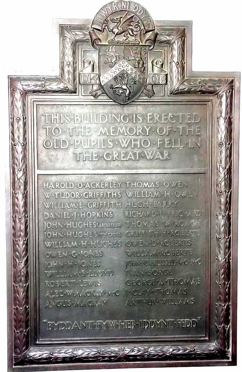 Holyhead, County School, WWI War Memorial to ex Pupils