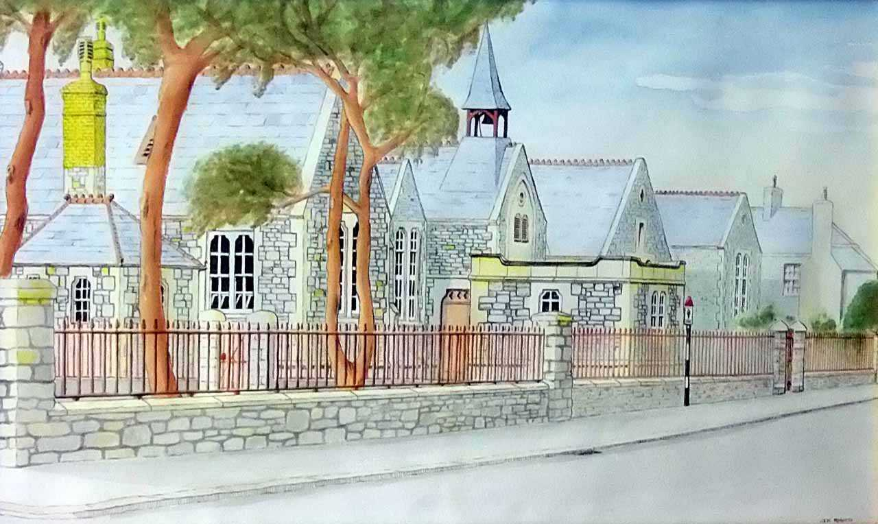 Holyhead, Park School, Painting of the original Park School by Dr. Ken Roberts