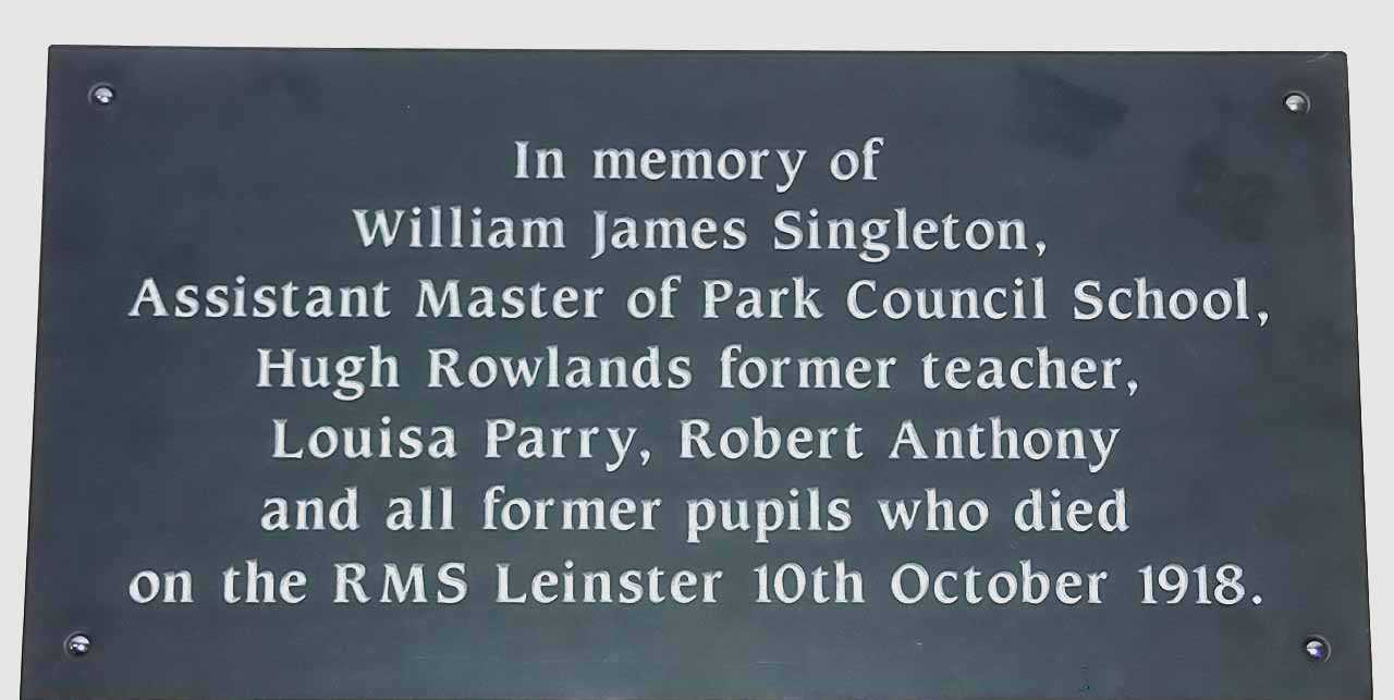 Holyhead, Park School, WWI Memorial to ex staff and pupils who died on the R.M.S. Leinster