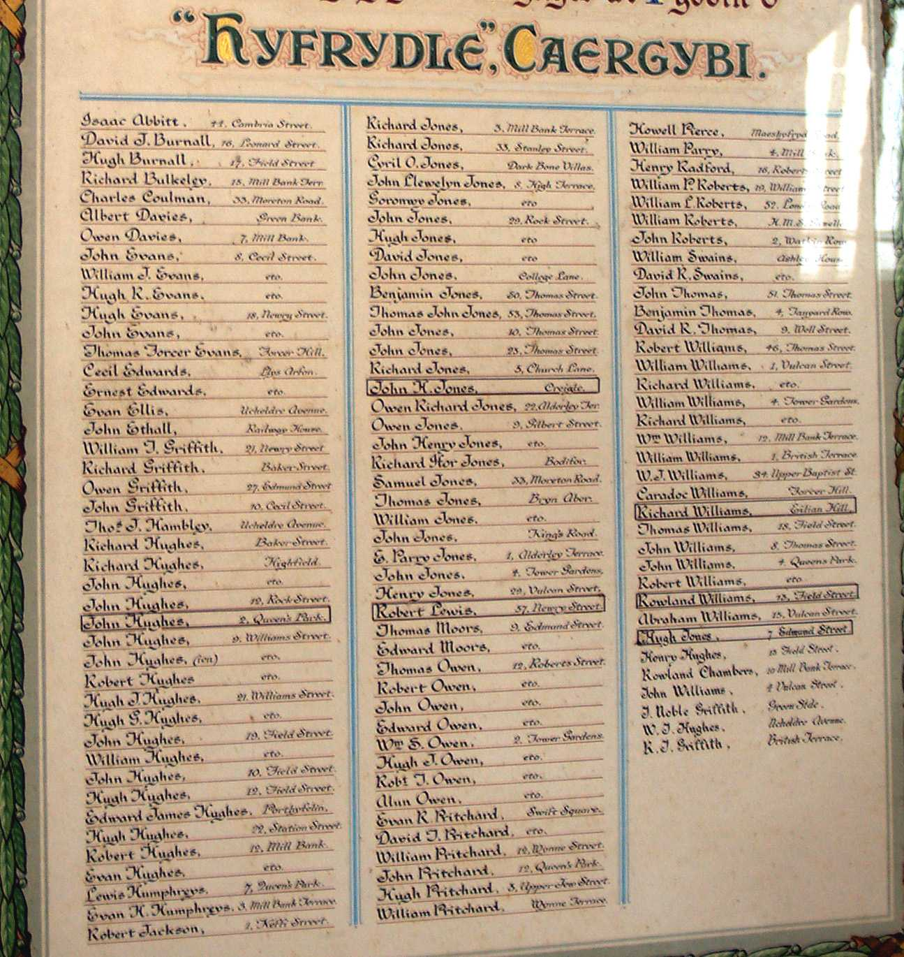 Holyhead, Hyfrydle Chapel Roll of Honour Names