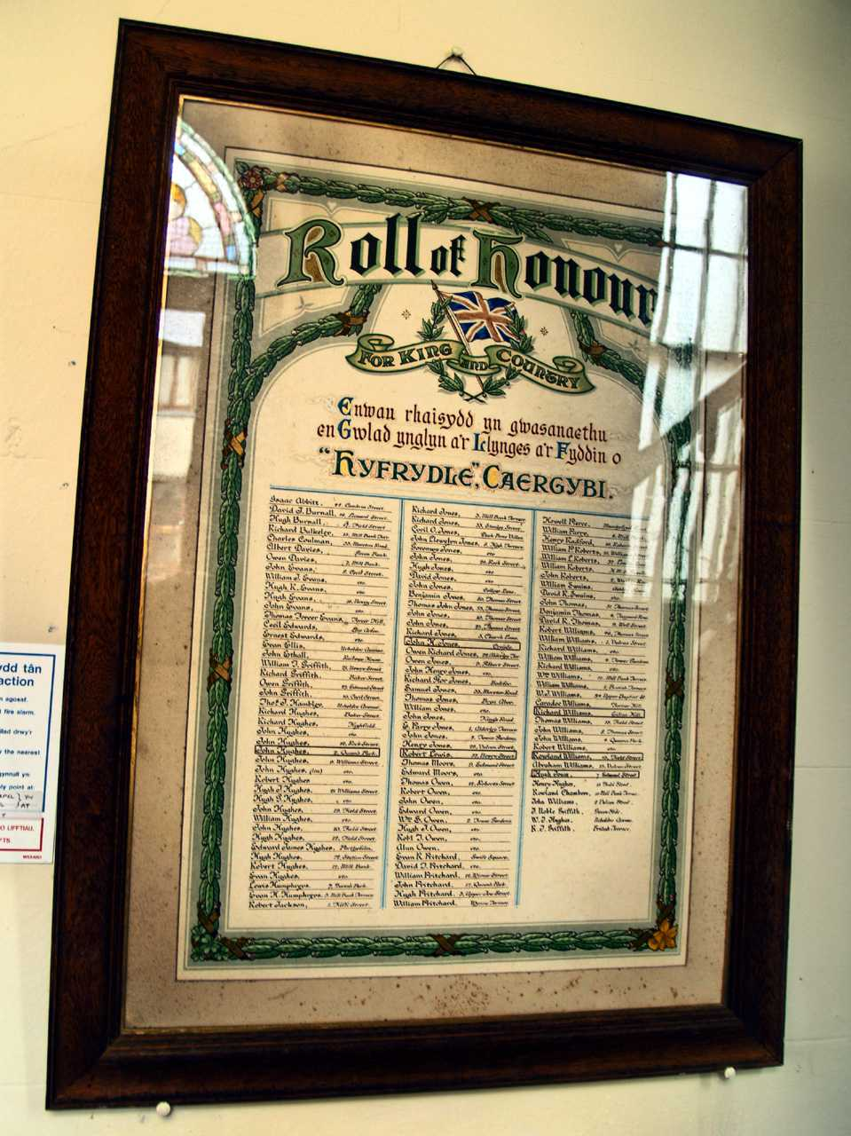 Holyhead, Hyfrydle Chapel Roll of Honour