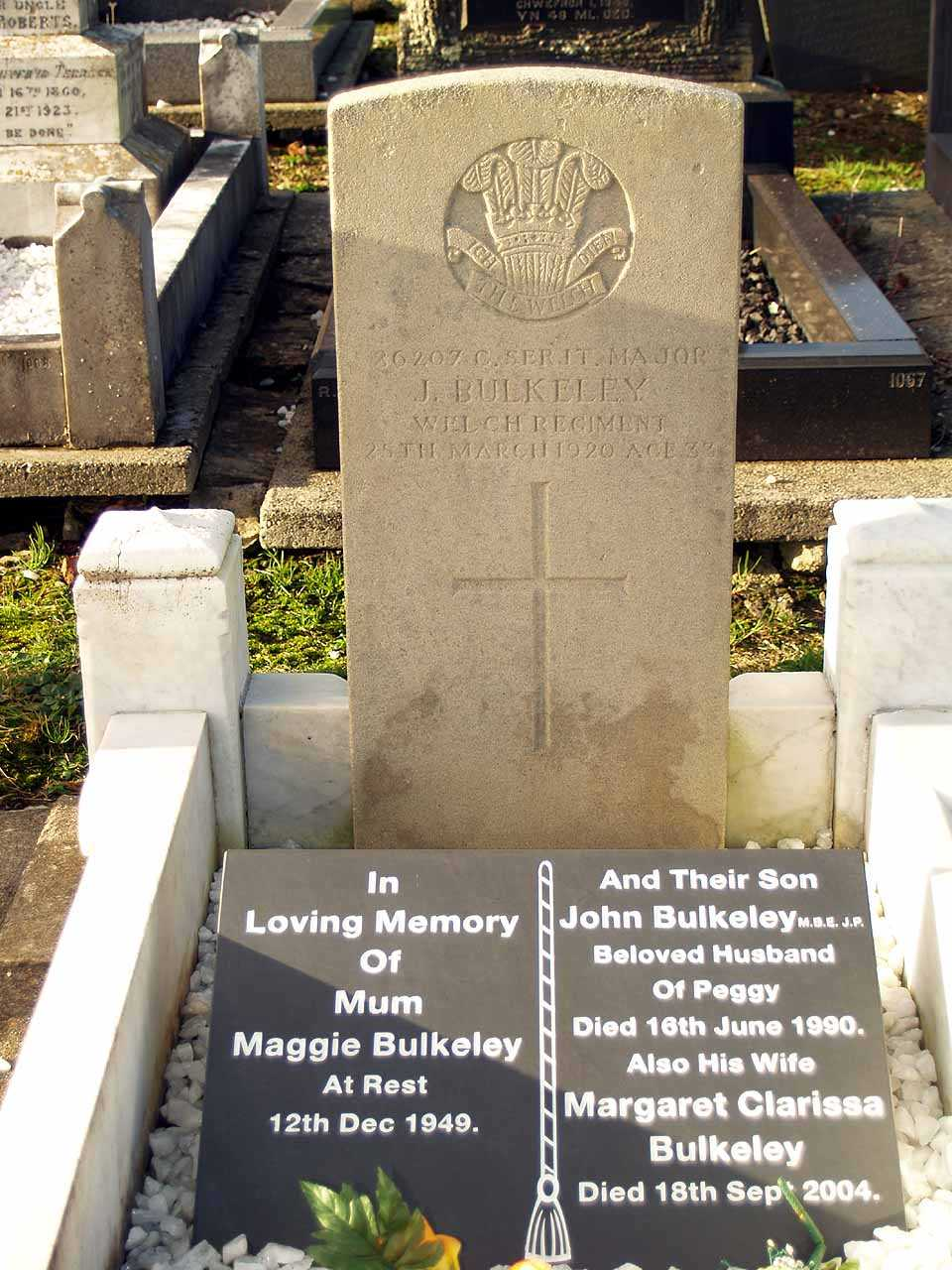 John Bulkeley Company Sergeant Major Welch Regiment died 1920 aged 33