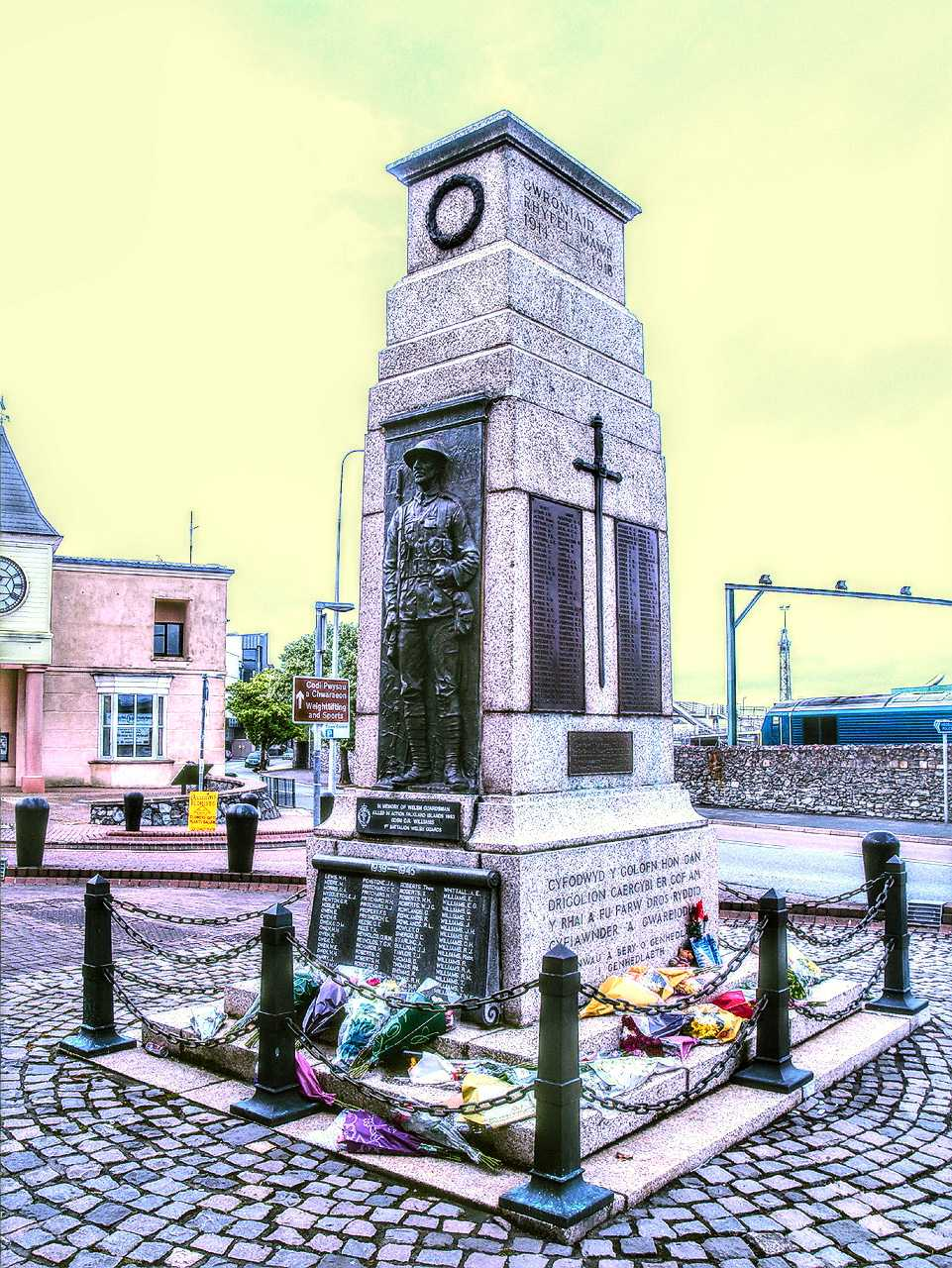 Holyhead Cenotaph - Flowers laid to express sympathy to the family of Drummer Lee Rigby, Royal Regiment of Fusiliers