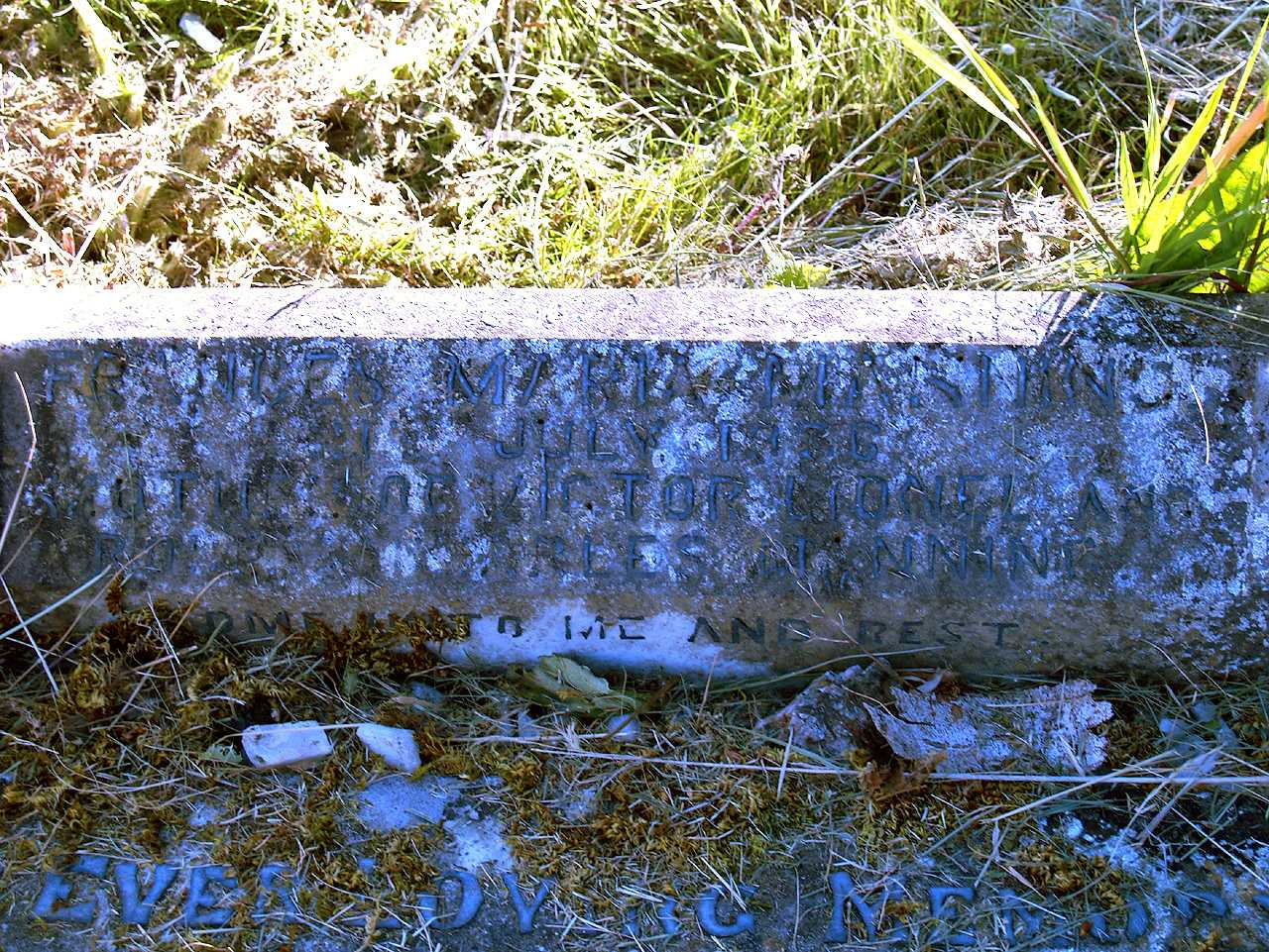 Grave Inscription of Frances Maria Manning died July 1936