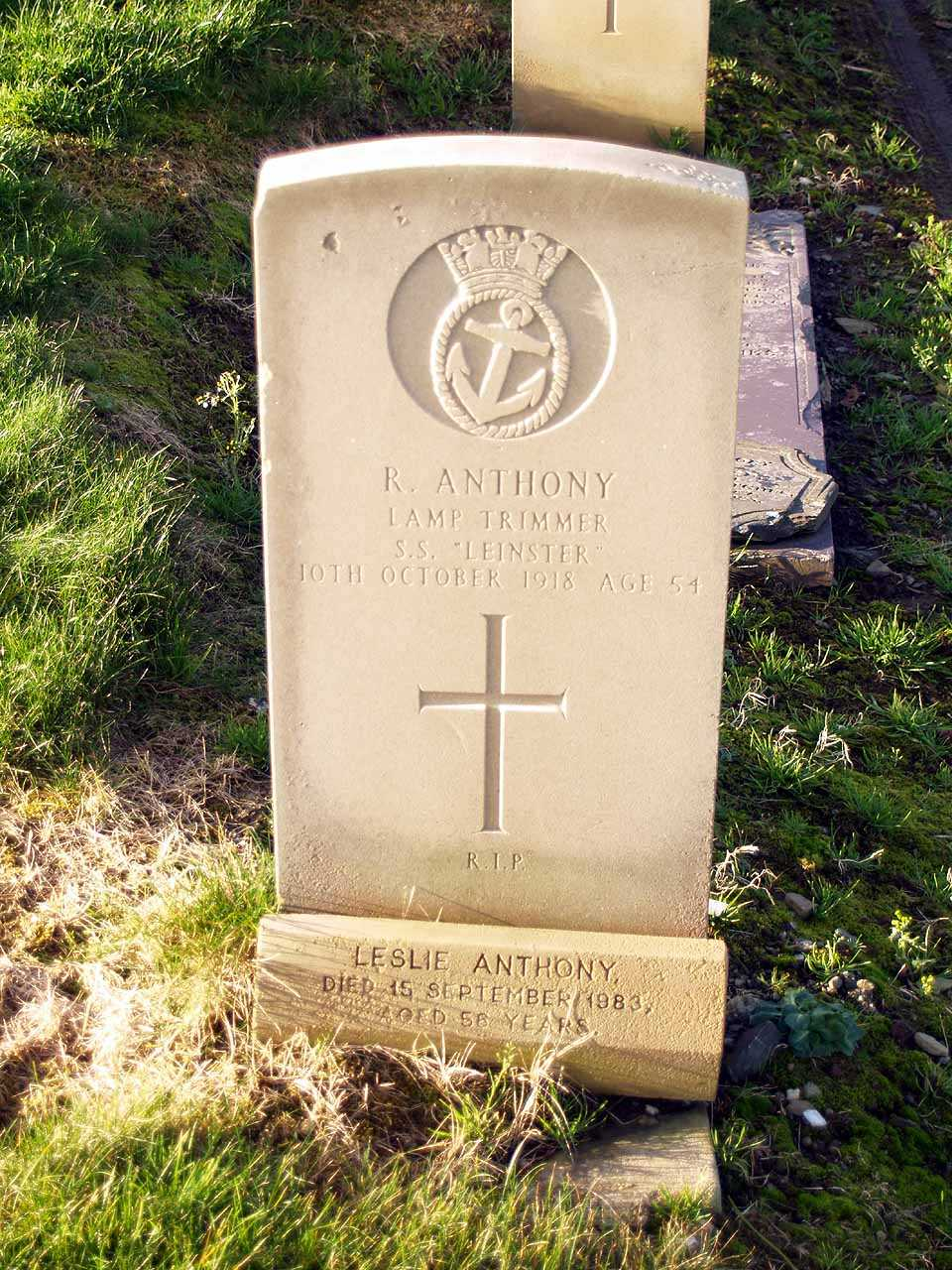 Robert Anthony - lost on the S.S. Leinster in 1918 aged 54