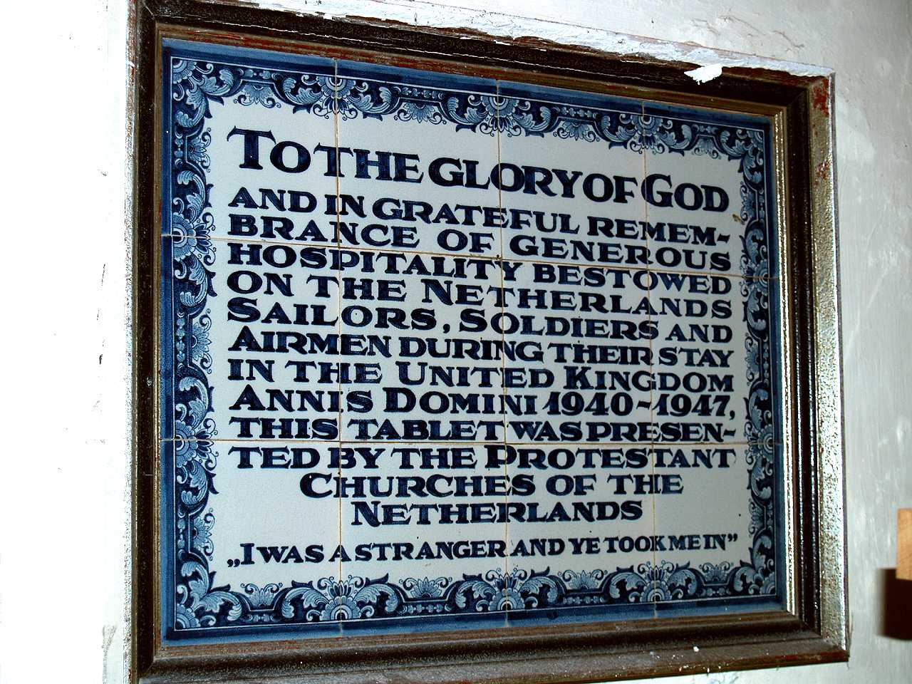 Anglesey, Holyhead, St Cybi's Church - Plaque made of tiles thanking the people for the hospitality bestowed upon the Dutch Forces during WWII