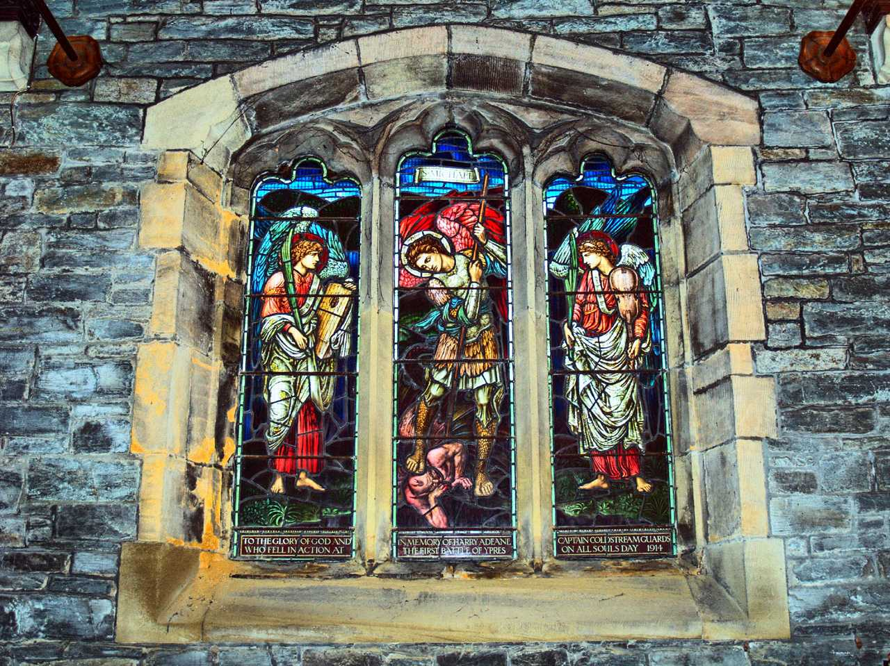 Anglesey, Holyhead, St Cybi's Church, World War One Memorial Window to Captain Harry Adeane