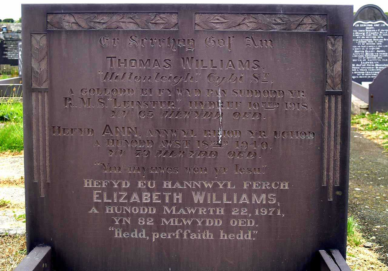 Thomas Williams - lost on the SS Leinster in 1918 - Family Grave