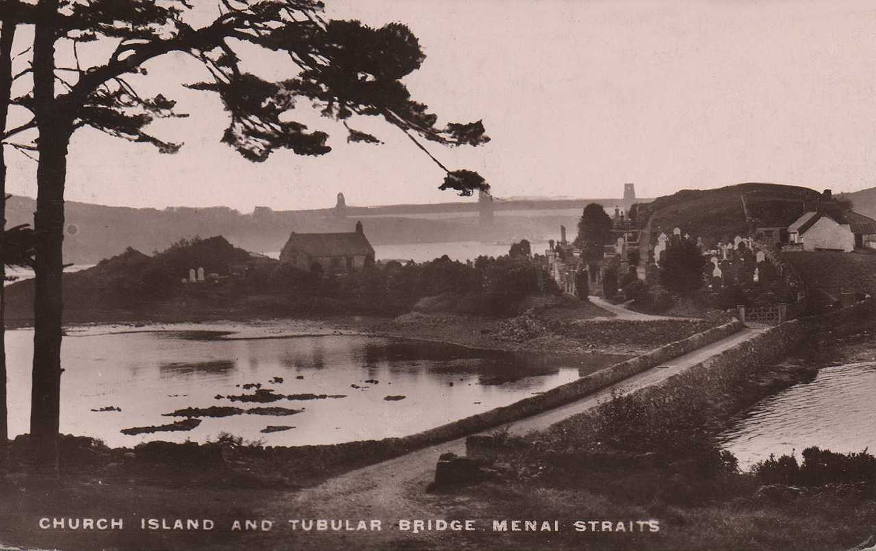 Anglesey, Menai Bridge, Church Island and the Tubular Bridge before the erection of the War Memorial